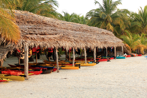 Belize kayak palapa before the storm