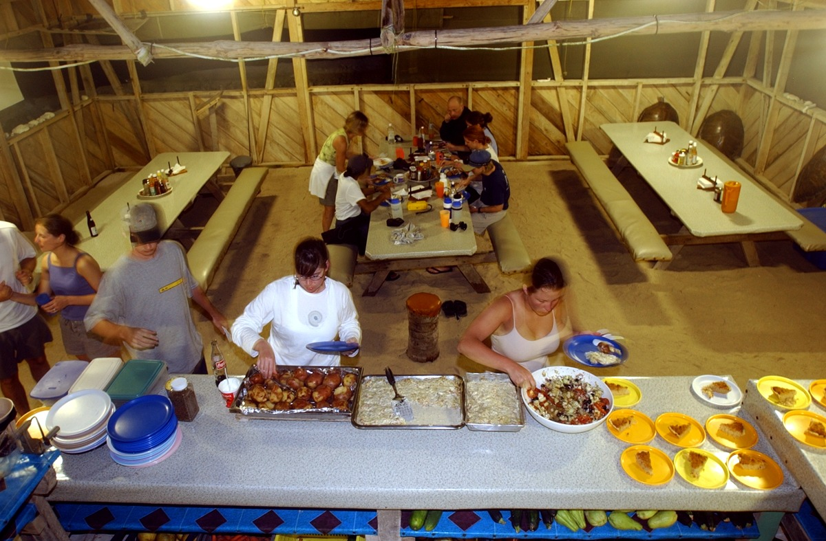 Long Caye dining hall at night