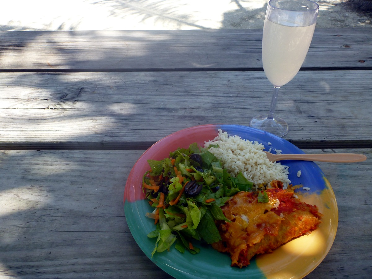 Enchiladas, lime rice, simple salad, and fresh limeade!