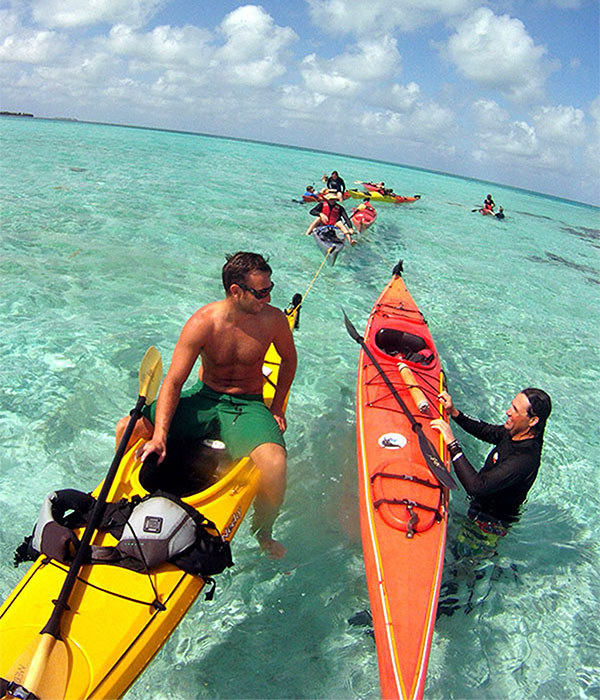 Every day we paddle to snorkel sites near Long Caye