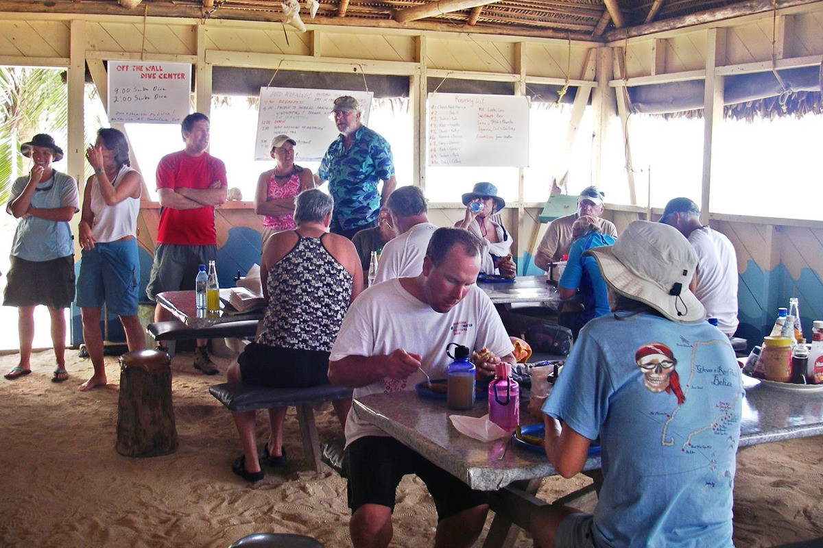Long Caye lunch crowd
