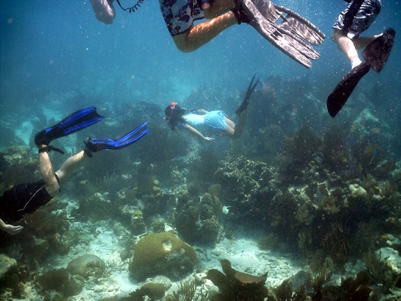 Snorkeling in deep water, she was about age 10, what a swimmer!
