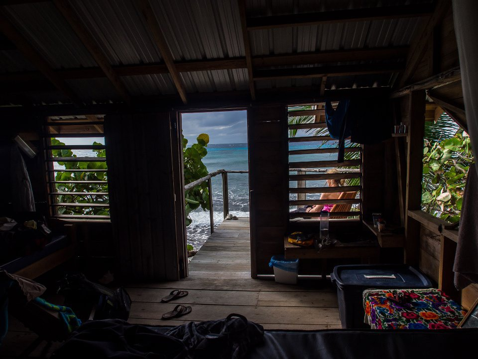 Looking out from inside your cabana
