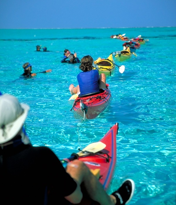 We paddle to access unsurpassed snorkeling every day