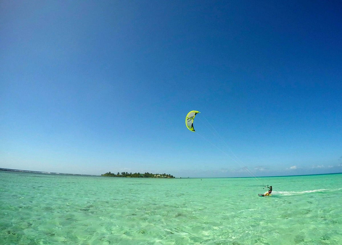 One of the best things about kiteboarding at Glover's Reef, you are the only one out there