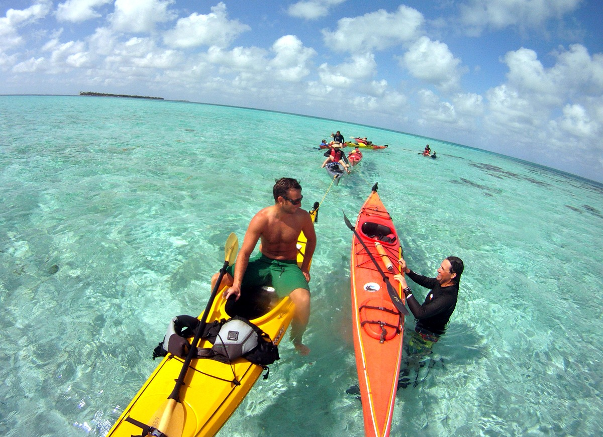 We use kayaks to access nearby snorkel spots.