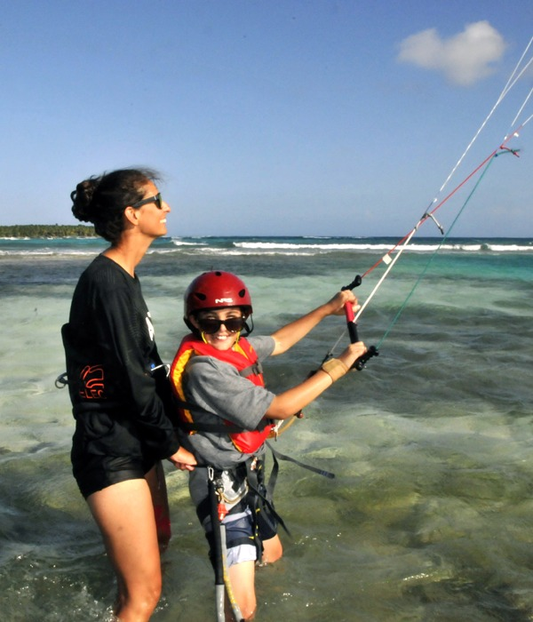 The first kitesurf lesson covers how to steer the kite