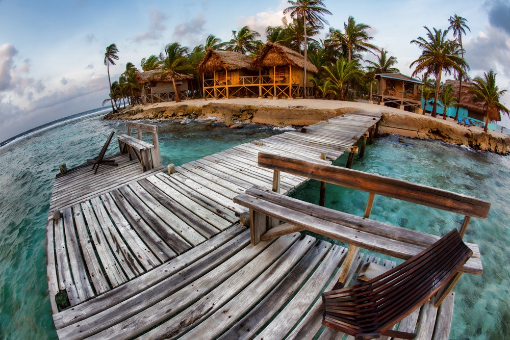 Cabanas on Long Caye at Glover's Reef, Belize