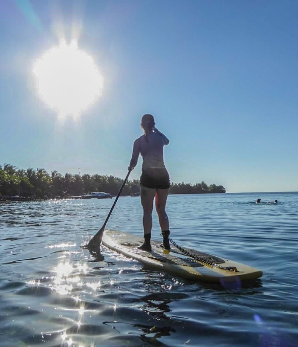 Paddleboard in our lagoon or to other islands in the atoll