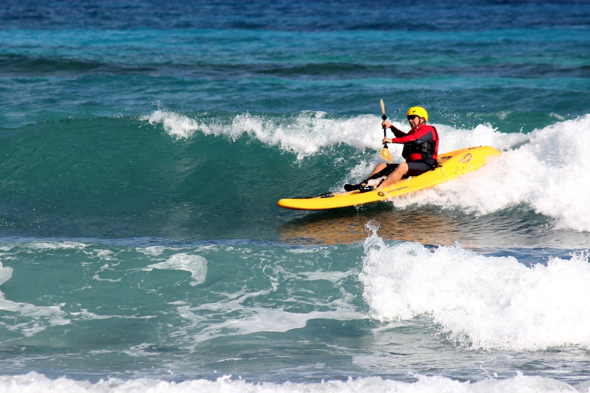 Surf kayaking orientation only takes about 45 minutes, then you are catching waves right away