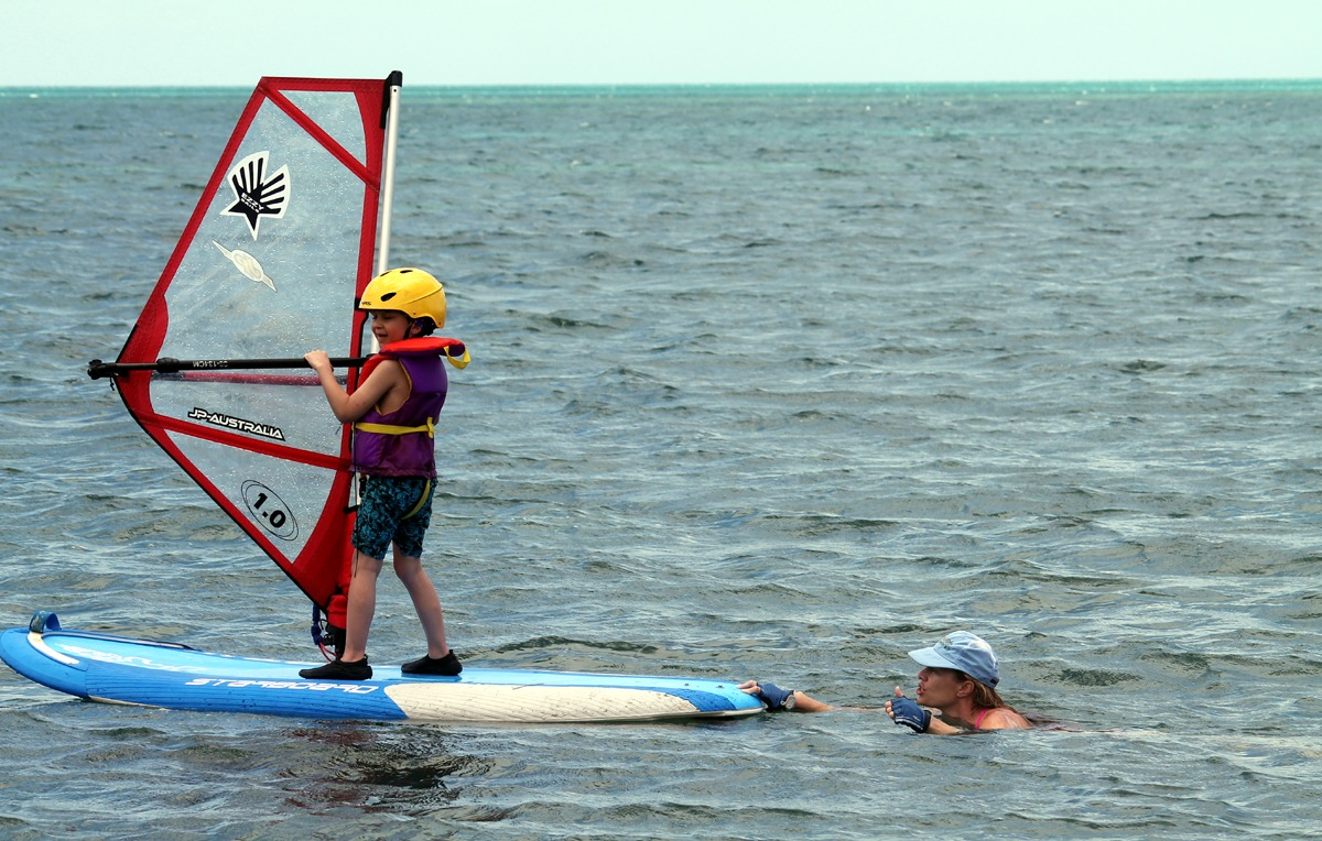 Windsurfing for kids in Belize