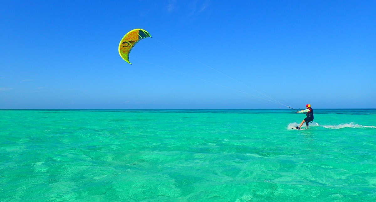 Our kitesurf location is amazing! And there is no one out there kitesurfing but us