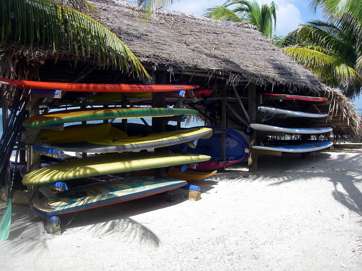 Some of our paddleboard gear in Belize