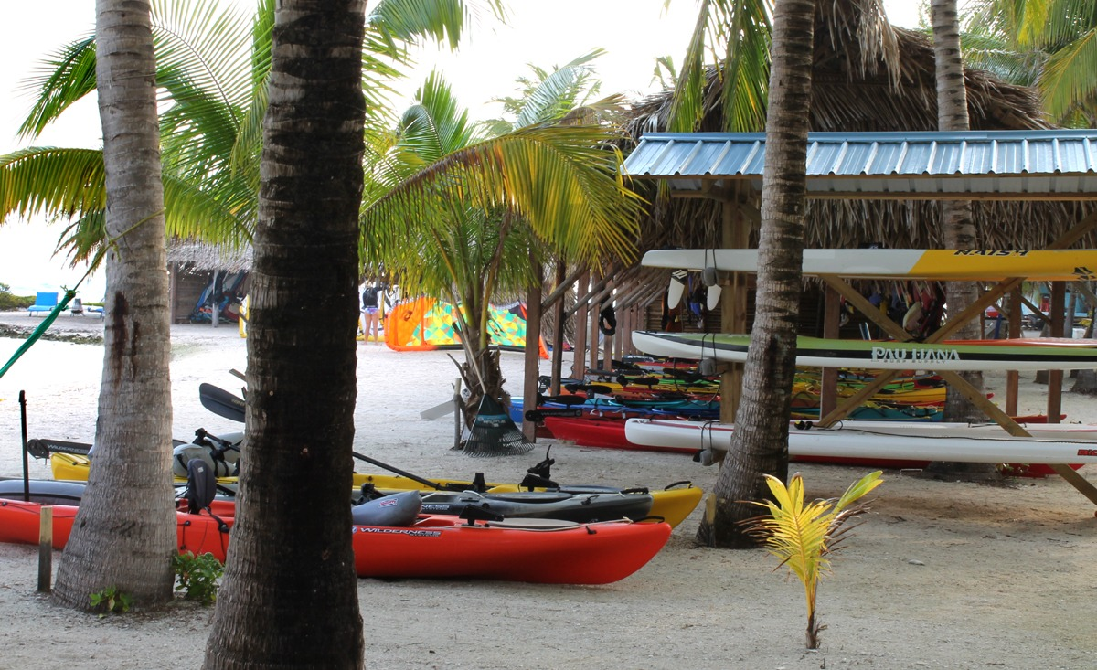 Cruiser paddleboard rack on Long Caye