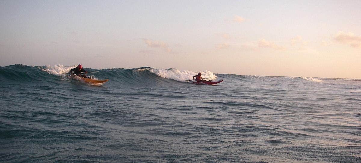 We start everyone out on surf kayaks, this is not a beginner wave