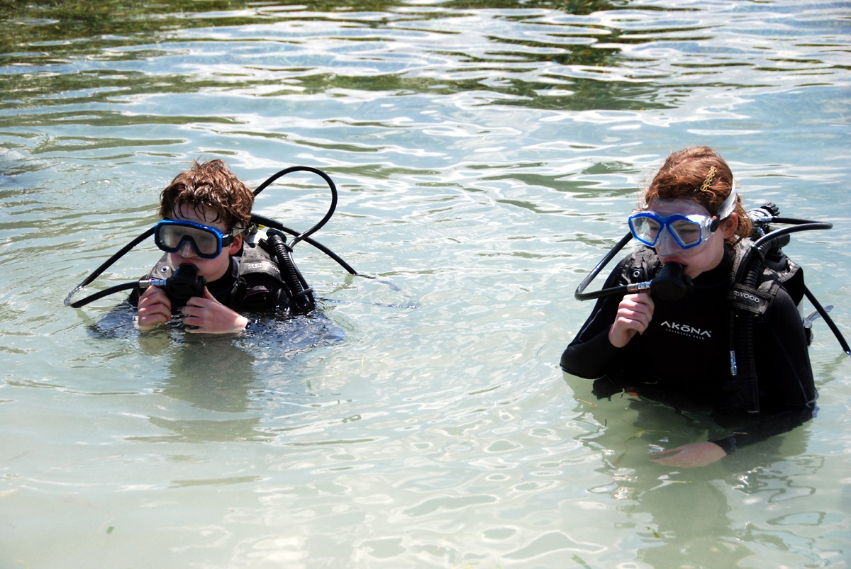 Open Water certification includes practice in shallow water