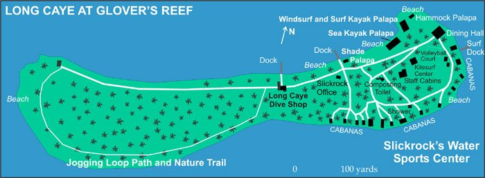 Long Caye at Glover's Reef island map