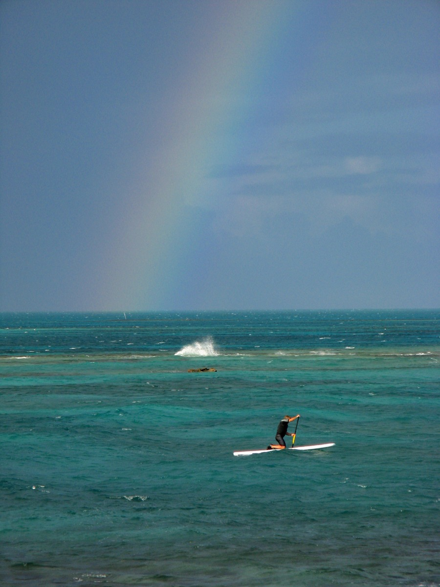 Paddling out to our surf spot