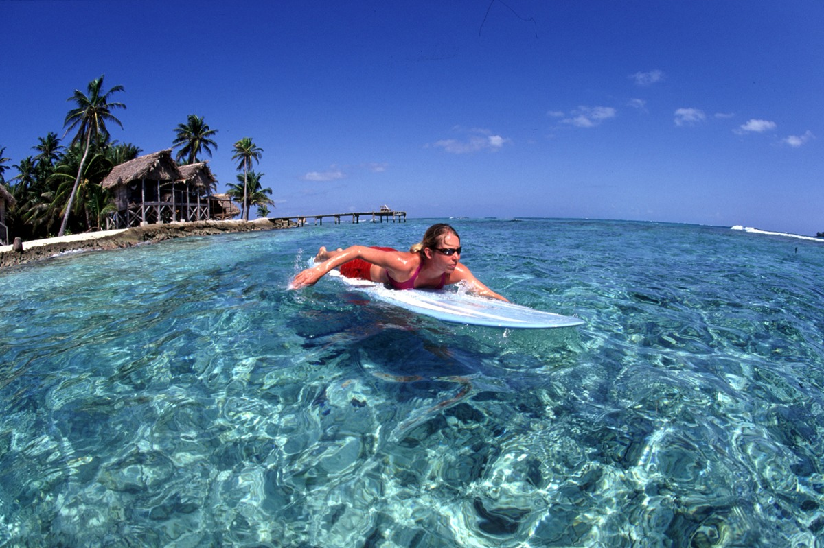 Surfing Long Caye Belize