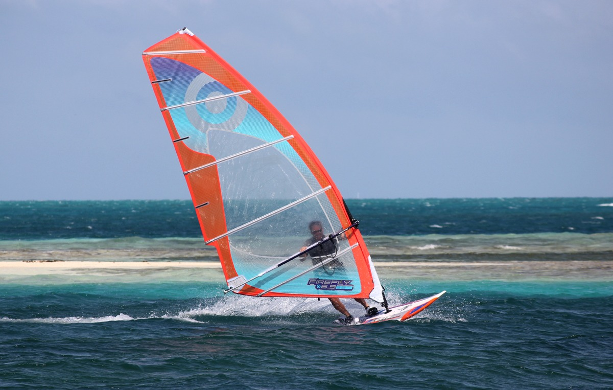 Windsurfing at Glover's Reef, we have good wind and great gear