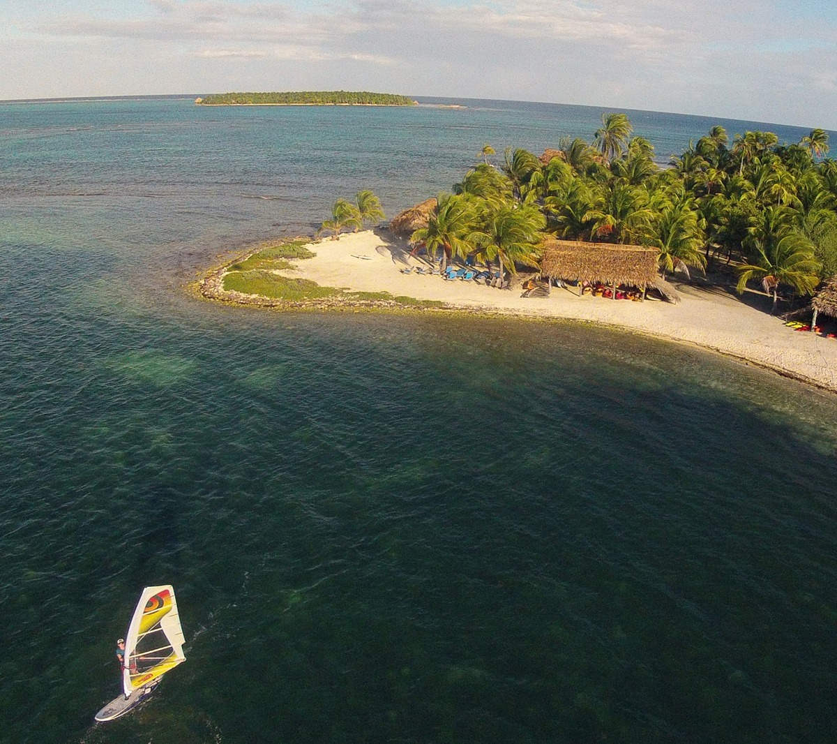 Windsurfing just off our caye