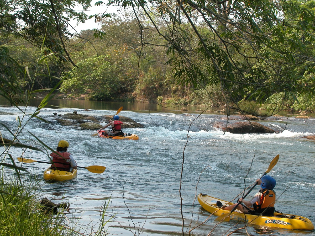 Whitewater rapids on the Mopan River in Belize