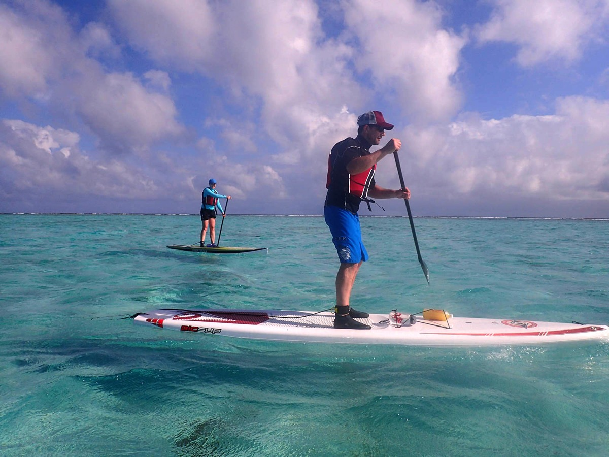 Paddle to Middle Caye on our SUP Cruisers