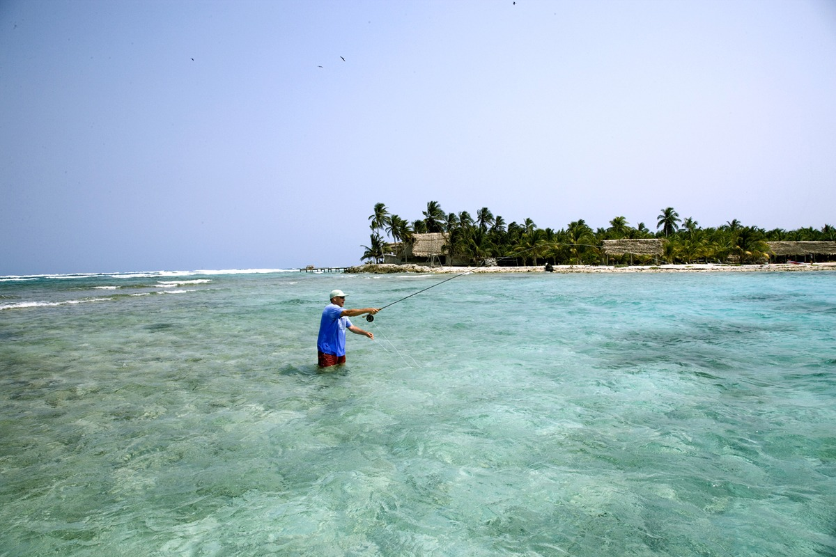 Fishing the shallows near Long Caye at Glover's Reef in Belize