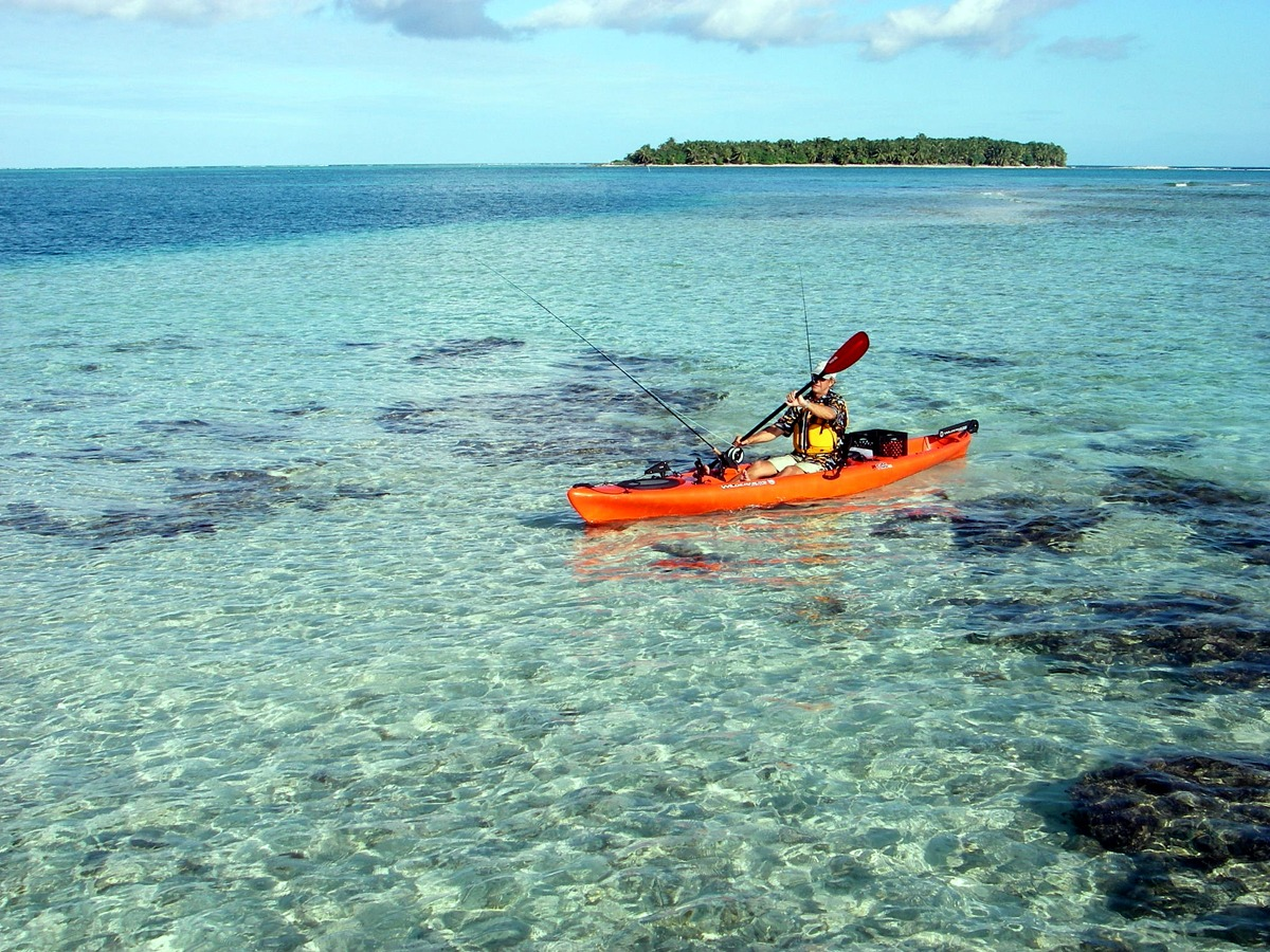 Kayak fishing at Glover's Reef, Belize