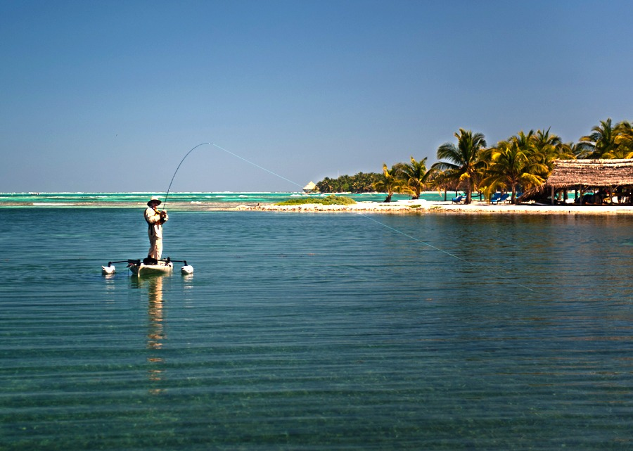 Kayak fishing right in front of Long Caye
