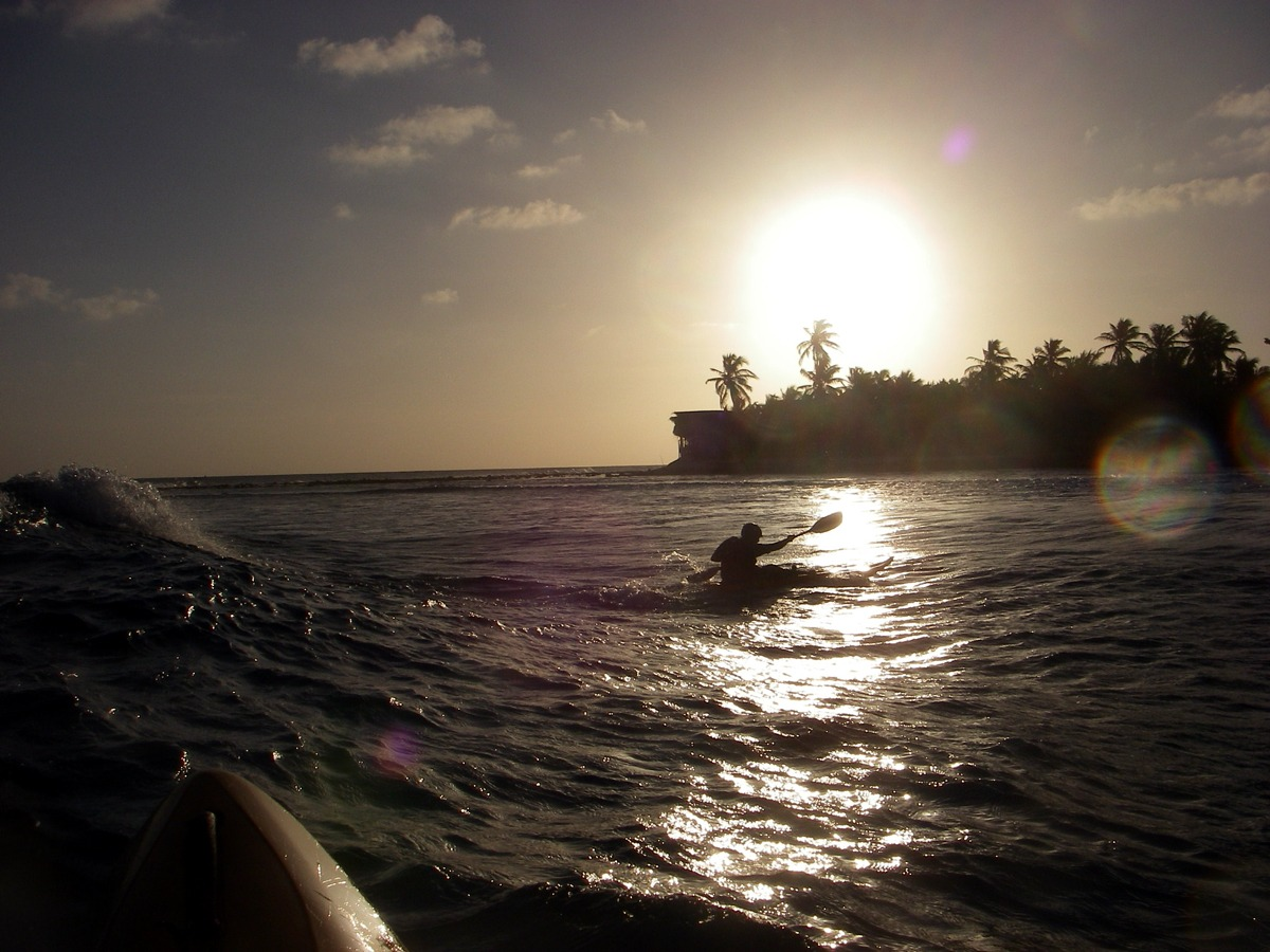 Our surf kayak spot is right out from the island