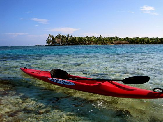 Surf ski, Long Caye in the background