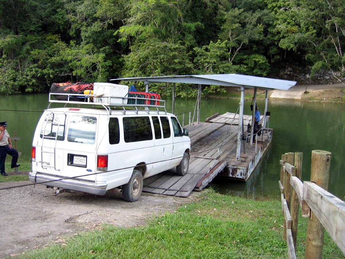 Xunantunich ferry along the Western Highway near San Ignacio, Belize