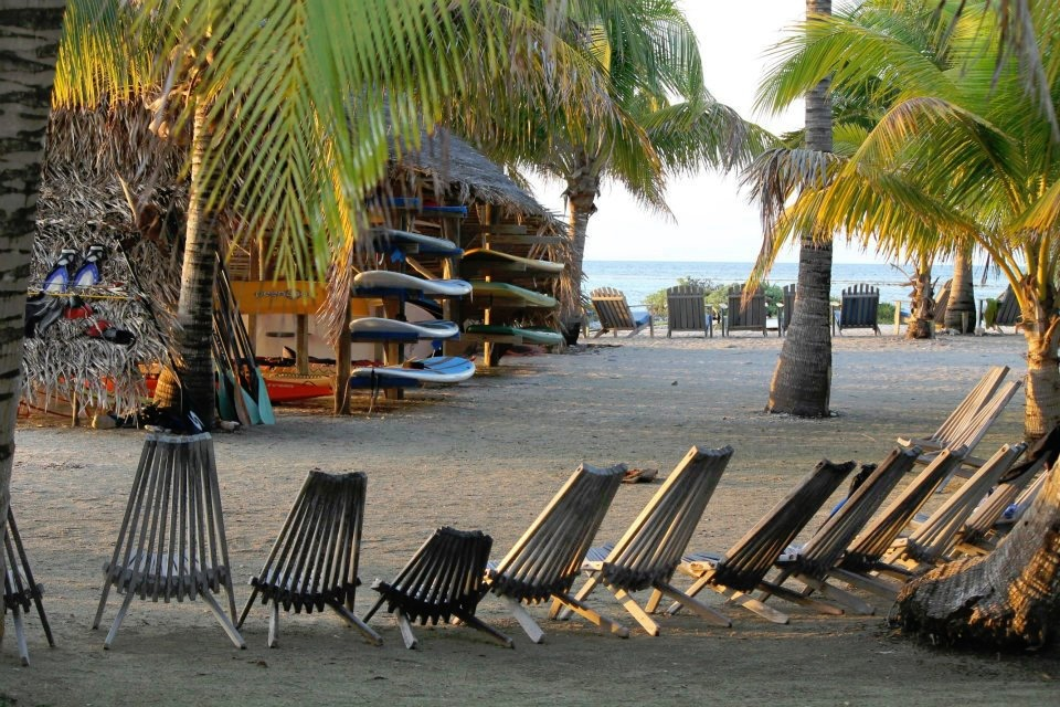 Long Caye at Glover's Reef beach chairs