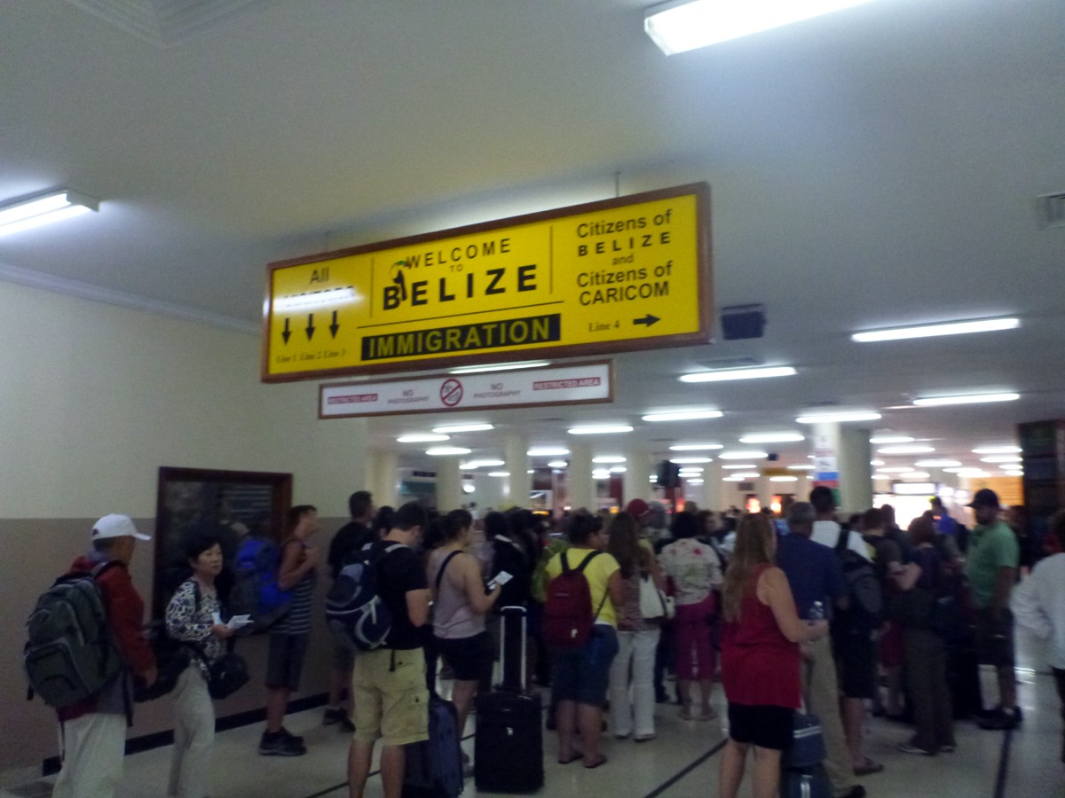 Immigration line at Belize airport