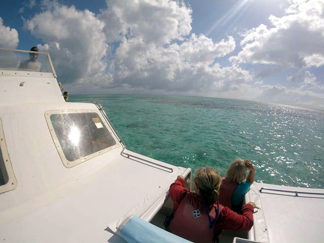 Riding the boat out to Glover's Reef