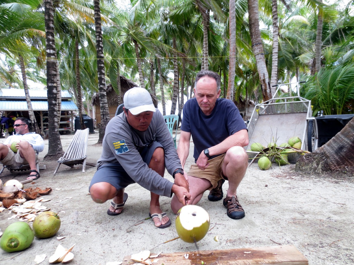 Learning how to open coconuts