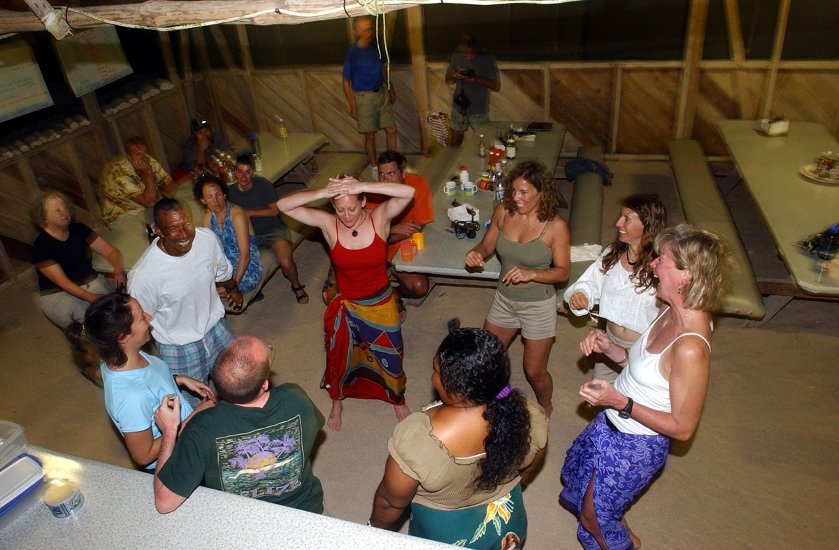 Dance party on Long Caye, Belize