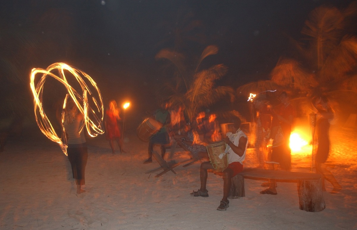 Fire party on Long Caye