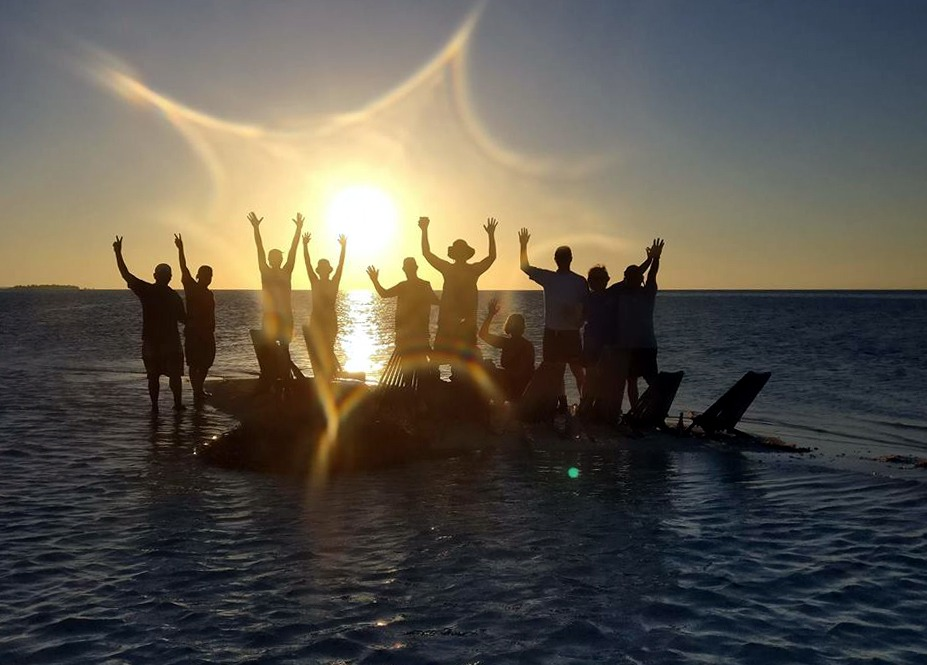 Sunset party at Glovers Atoll