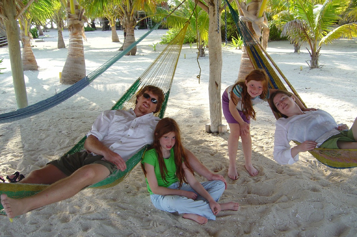 Family in the hammock palapa