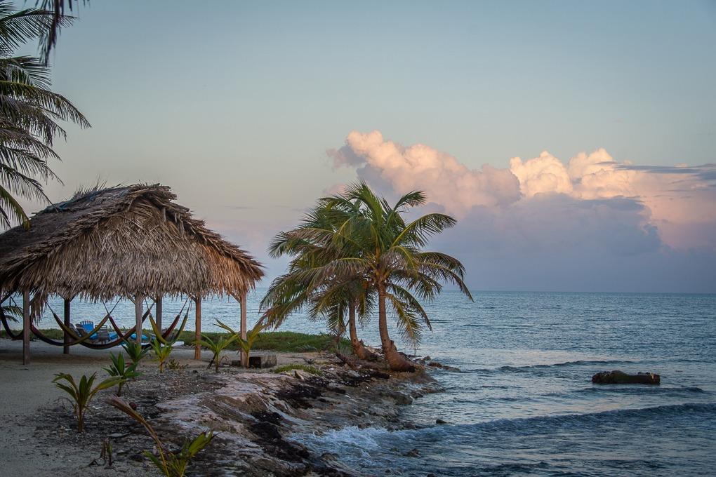 Hammock palapa on Long Caye, Belize