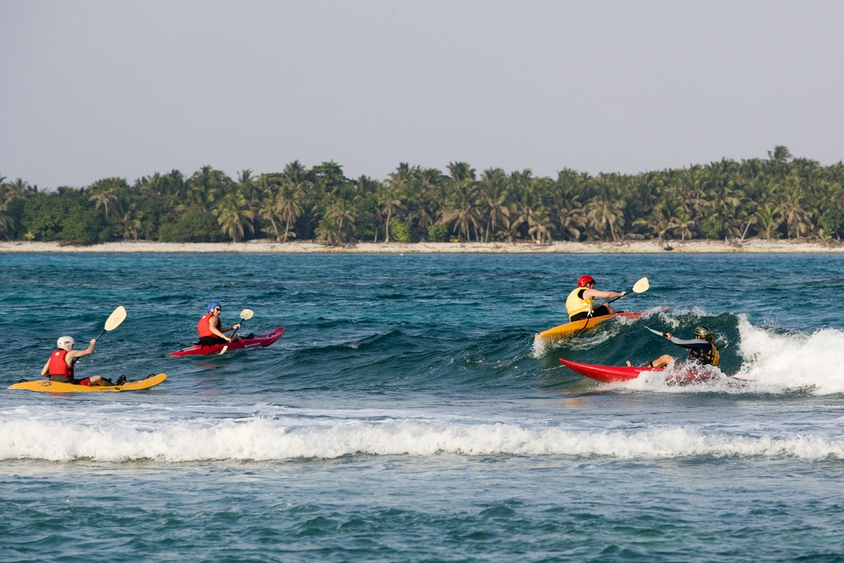 Kayak surf lessons are part of the package