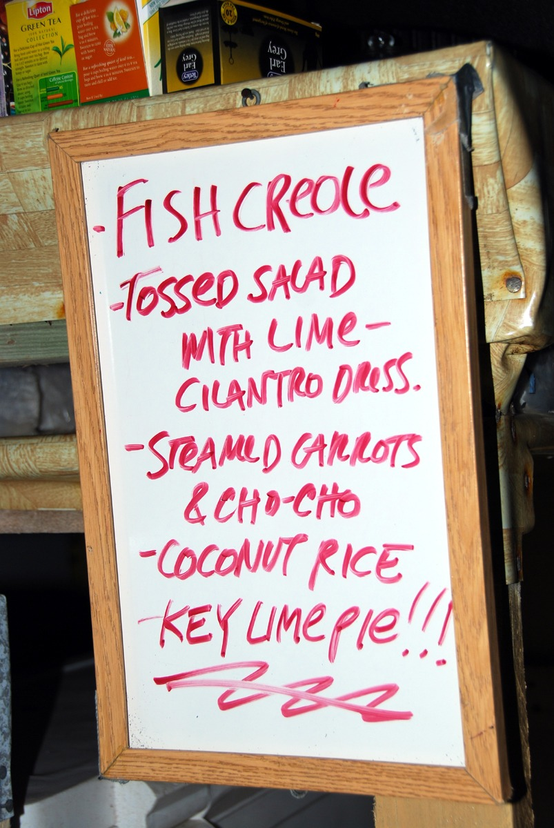 Our Long Caye menu board