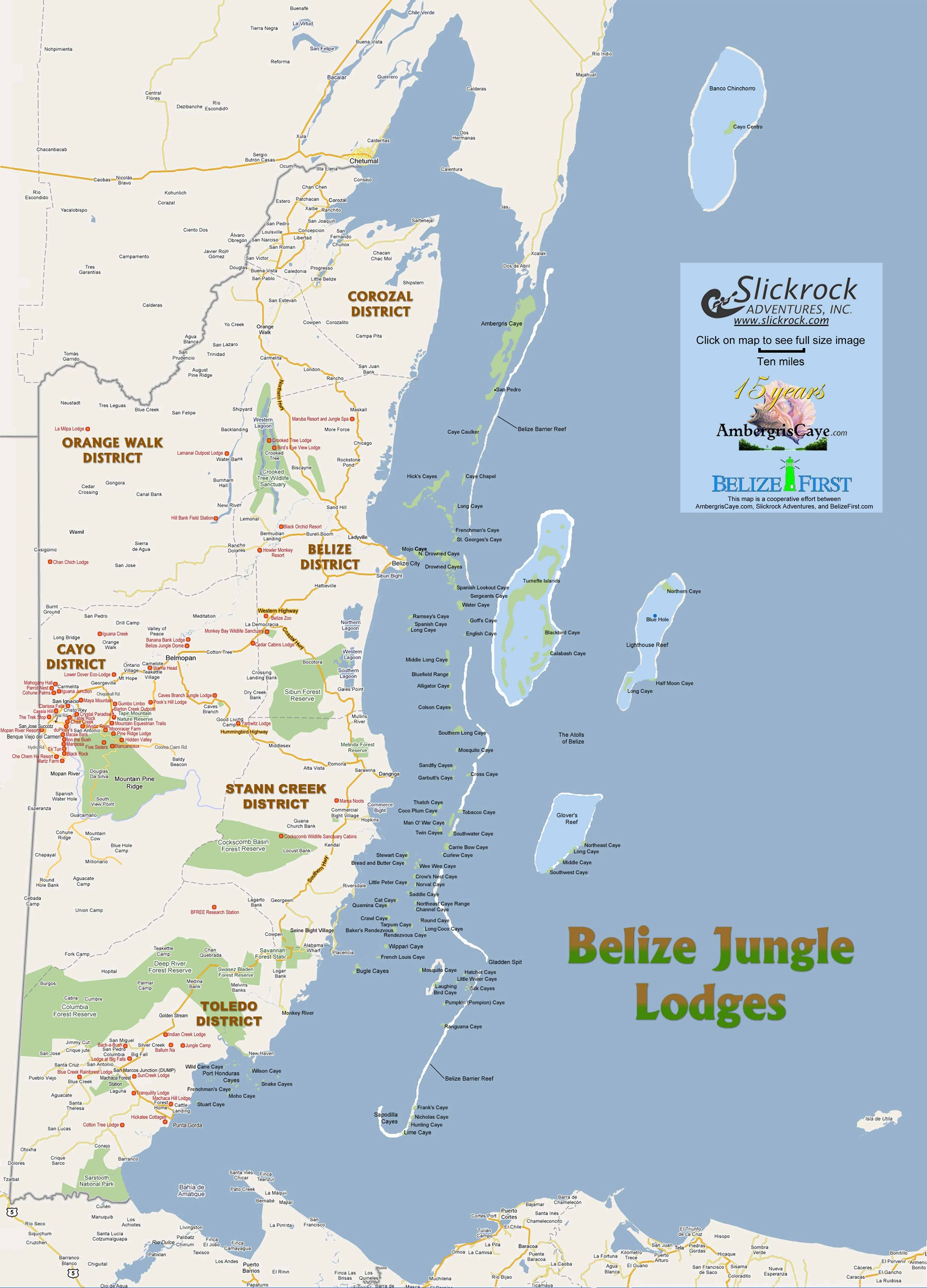 Map of Belize jungle lodges