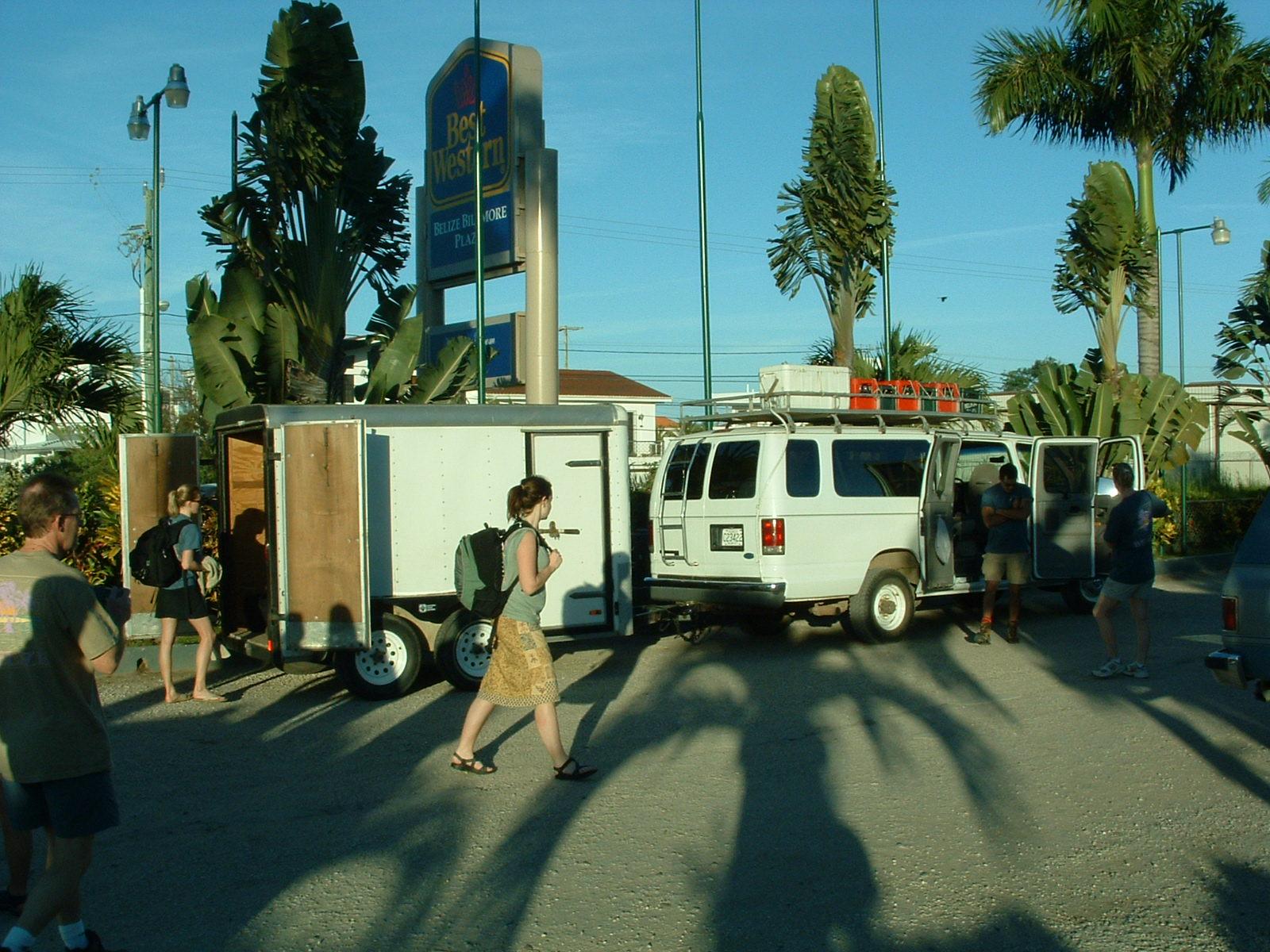 Loading into the Adventure Week van