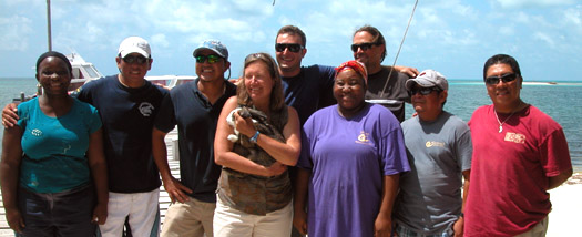 Slickrock island staff, on Long Caye in Belize.