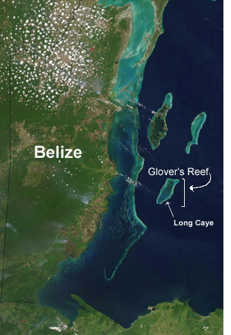 Satellite view of Glovers Reef Atoll and Long Caye off the coast of Belize