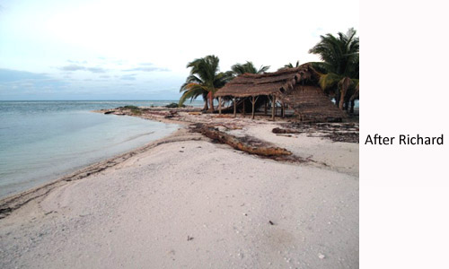 Long Caye kayak beach after Hurricane Richard in 2010