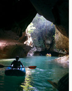 Belize cave kayaking